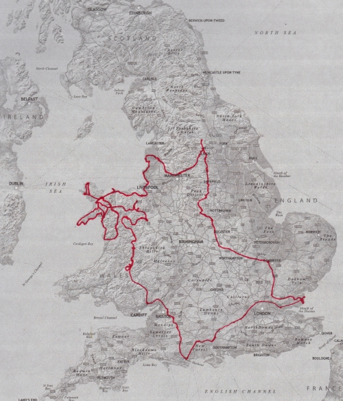 Wales trip route